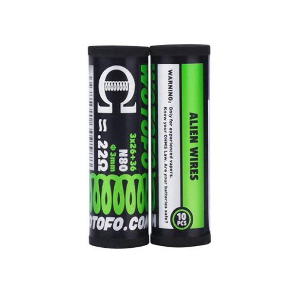 Ni80 Alien Prebuilt Coil 3*26+36G / 0.22Ω (10pcs) - Wotofo